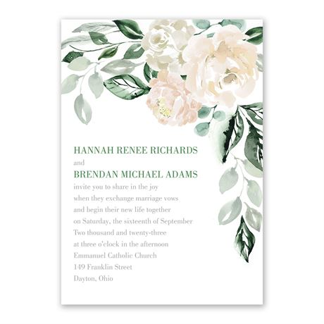 Garden Rose Invitation with Free Response Postcard