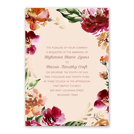 Autumn Blooms Invitation with Free Response Postcard