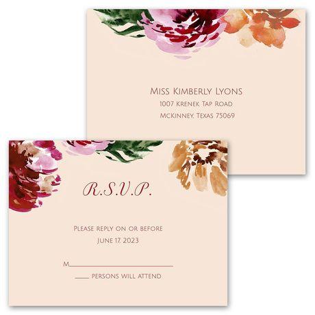 Autumn Blooms - Invitation with Free Response Postcard