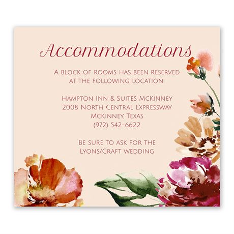 Autumn Blooms Information Card