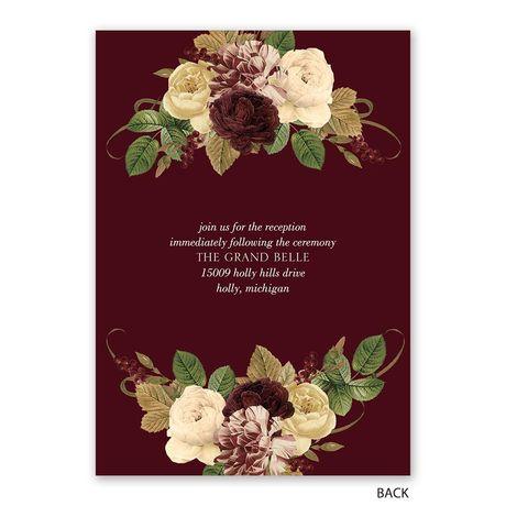 Budding Floral - Burgundy - Invitation with Free Response Postcard