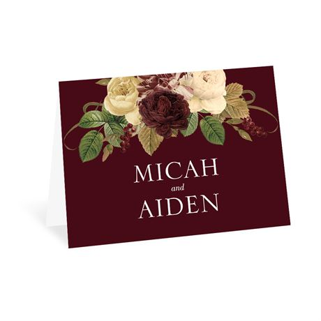 Budding Floral - Burgundy - Thank You Card
