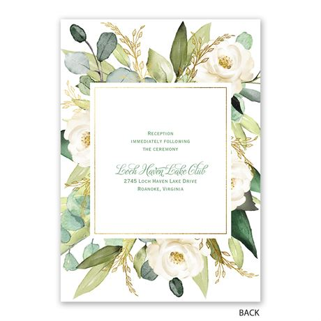 Gold Greenery - Invitation with Free Response Postcard