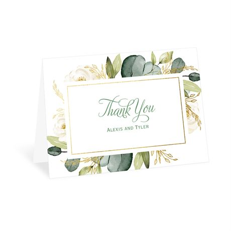 Gold Greenery Thank You Card