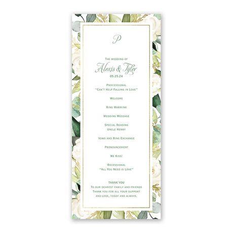 Gold Greenery Wedding Program