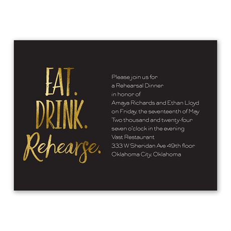 Eat Drink Rehearse Rehearsal Dinner Invitation