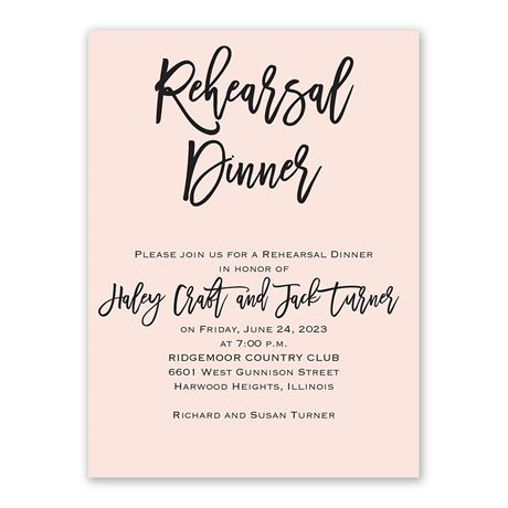 Simple Statement - Rehearsal Dinner Invitation