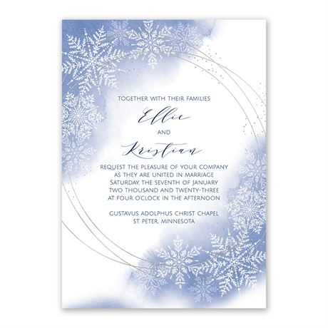 Watercolor Snowflake - Invitation with Free Response Postcard