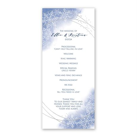 Watercolor Snowflake Wedding Program
