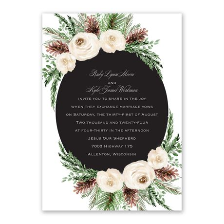 Floral and Pine Invitation with Free Response Postcard