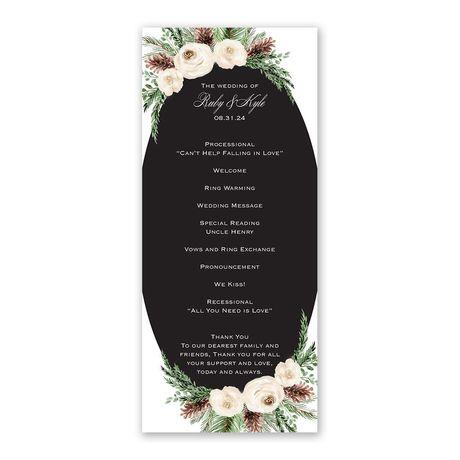 Floral and Pine Wedding Program