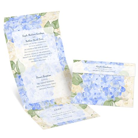 Blue Blooms - Seal and Send Invitation