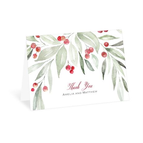 Winter Greens Thank You Card