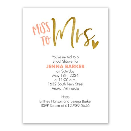 Miss to Mrs. - Bridal Shower Invitation