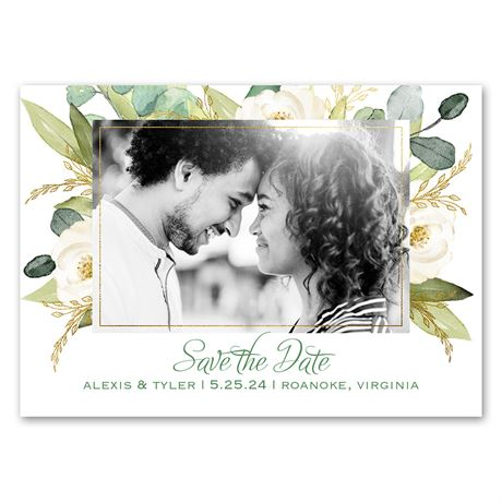 Gold Greenery - Save the Date Magnet