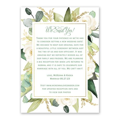 Gold Greenery Wedding Announcement