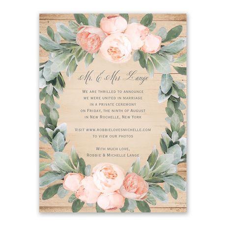 Peach Peony Wedding Announcement