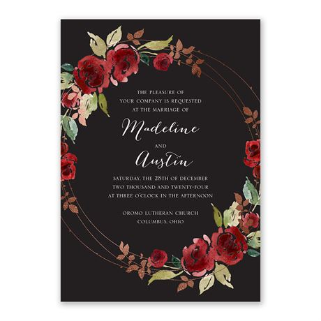 Lavish Rose - Invitation with Free Response Postcard