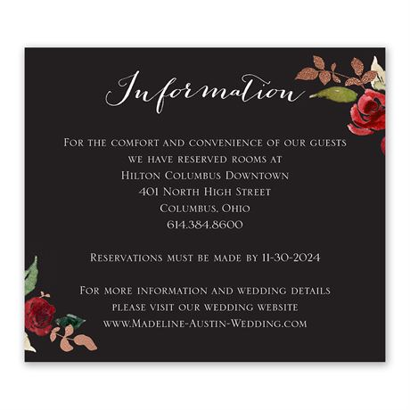 Lavish Rose - Information Card