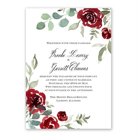 Lovely Rose - Invitation with Free Response Postcard