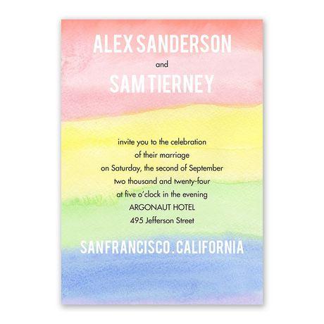 Painted Rainbow Invitation with Free Response Postcard