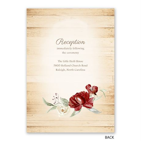 Framed in Floral - Brick - Invitation with Free Response Postcard