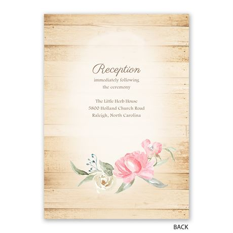 Framed in Floral - Melon - Invitation with Free Response Postcard