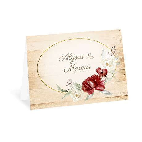Framed in Floral - Brick - Thank You Card