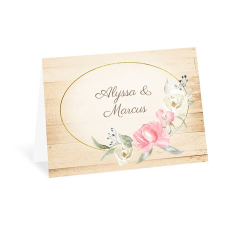 Framed in Floral Melon Thank You Card