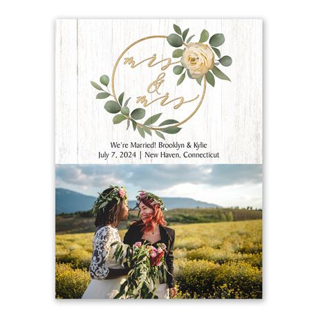 Greenery Wreath Mrs. and Mrs. Wedding Announcement