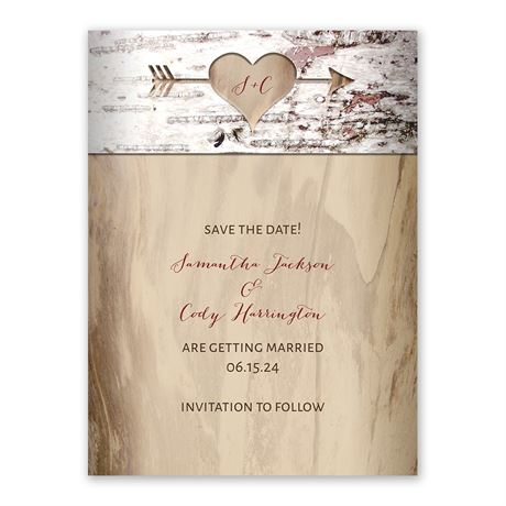Carved Birch Save the Date