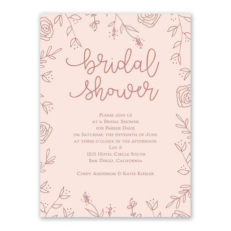 Floral Outlines - Bridal Shower Invitation