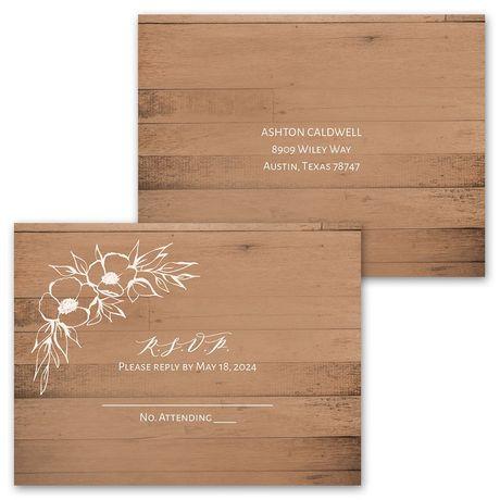 Woodgrain Blooms - Invitation with Free Response Postcard