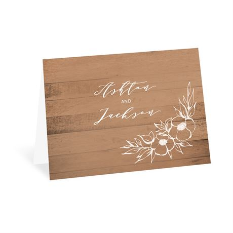 Woodgrain Blooms Thank You Card