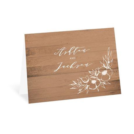 Woodgrain Blooms - Thank You Card