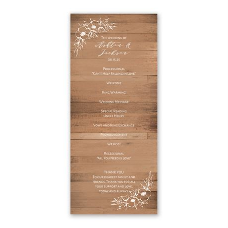 Woodgrain Blooms Wedding Program