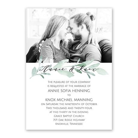 Painted Greens Invitation with Free Response Postcard