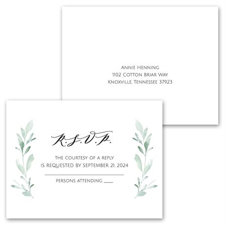 Painted Greens - Invitation with Free Response Postcard
