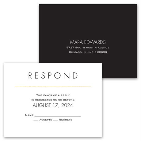 Gold Elegance - Invitation with Free Response Postcard