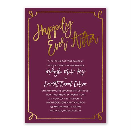 Golden Fairy Tale Invitation with Free Response Postcard