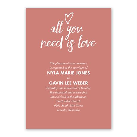 All You Need is Love - Invitation with Free Response Postcard