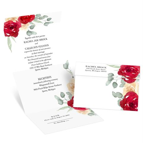 Painted Rose Seal and Send Invitation