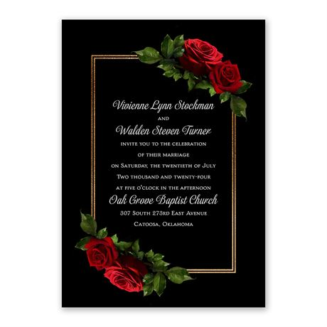 Red Rose - Invitation with Free Response Postcard