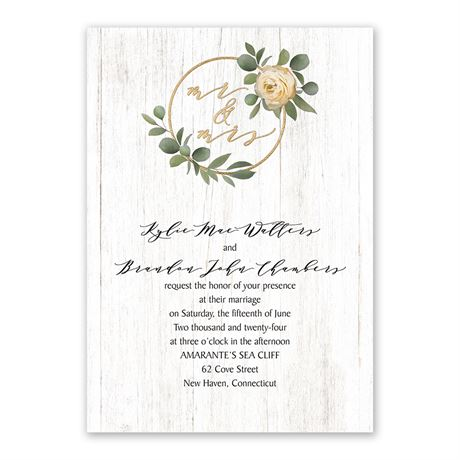 Greenery Wreath Mr. and Mrs. Invitation with Free Response Postcard