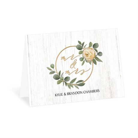 Greenery Wreath Mr. and Mrs. Thank You Card