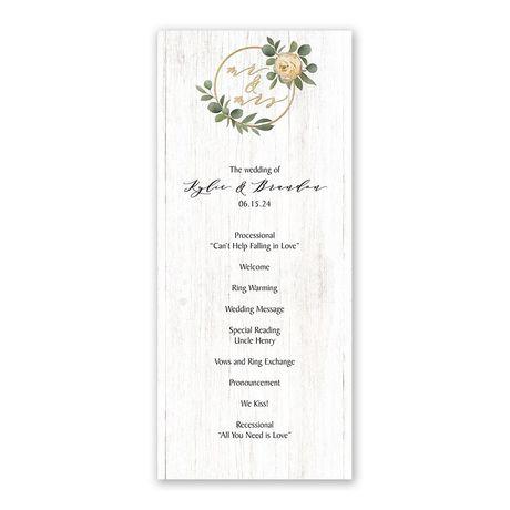 Greenery Wreath Mr. and Mrs. Wedding Program