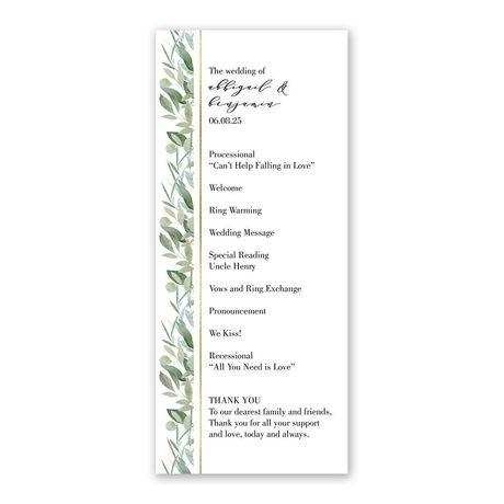 Natural Elegance Wedding Program