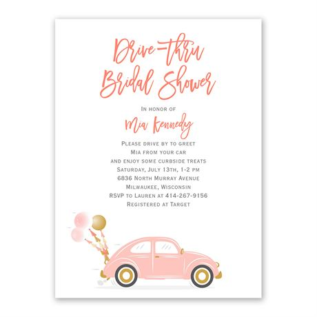 Drive Up Bridal Shower Invitation