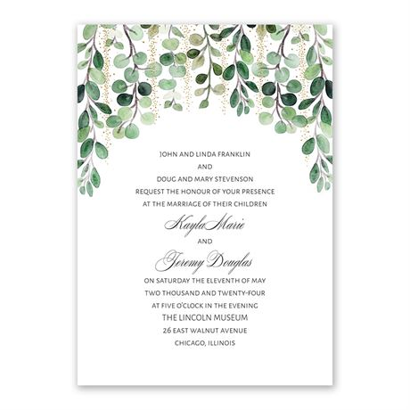 Under the Trees Invitation with Free Response Postcard