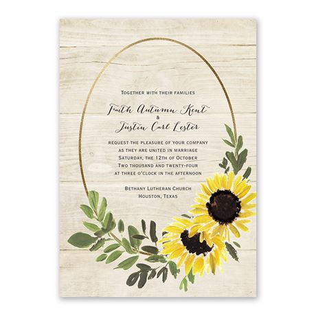 Golden Sunflower - Invitation with Free Response Postcard